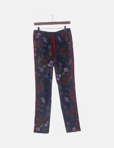 Pantalón jogger azul floral