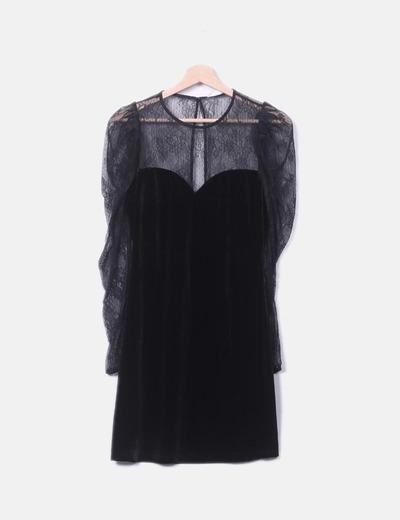 Vestido negro combinado velvet
