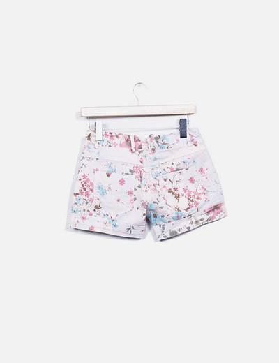 Shorts rosa denim floral
