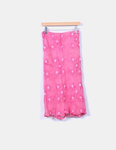 Falda maxi seda rosa bordada NoName