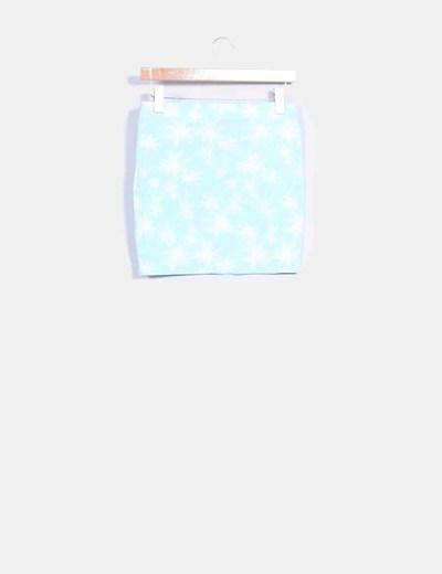 Mini falda mint print palmeras
