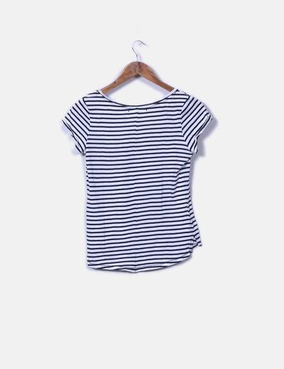 Camiseta basica blanca rayas azules
