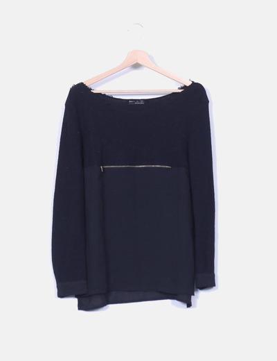Tricot negro combinado detalle cremallera dorada Zara