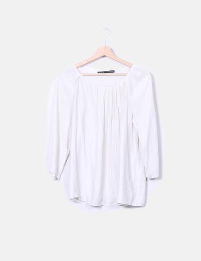 Zara Blouse beige à manches longues (réduction 75%) - Micolet 9e1be34a3efa