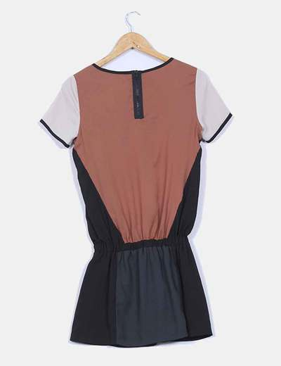 Vestido combinado manga corta