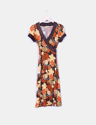 Vestido floral escote cruzado raso Suiteblanco