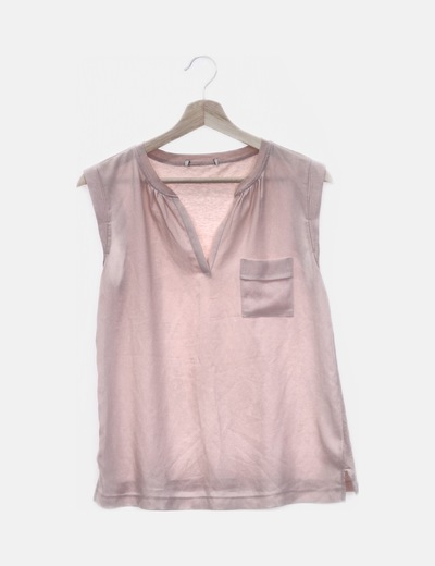 Blusa combinada rosa palo