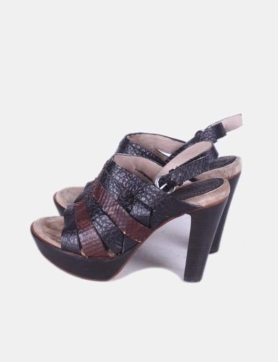 Sandales à talon à bandes texturé Biviel