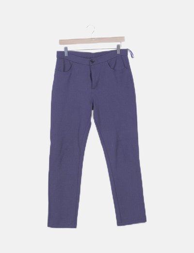 Pantalón chino azul marino estampado