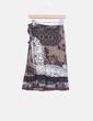 Brown printed skirt with belt Desigual