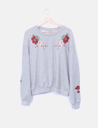 Sudadera gris bordado floral