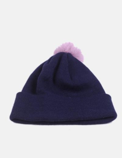 Gorro tricot azul marino con pompón