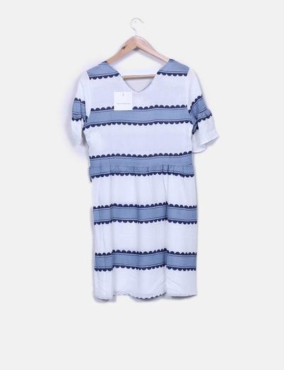Vestido blanco estampado azul