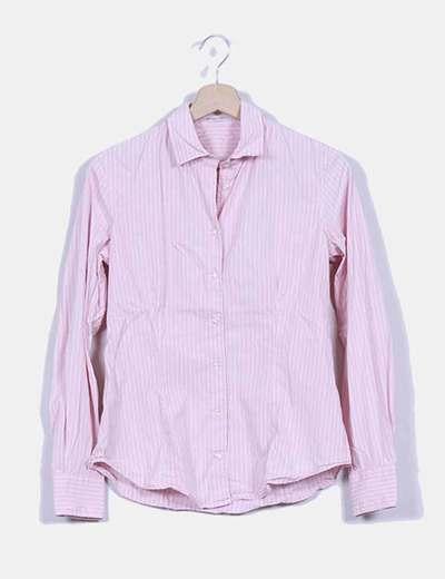 Camisa rosa de rayas blancas Massimo Dutti