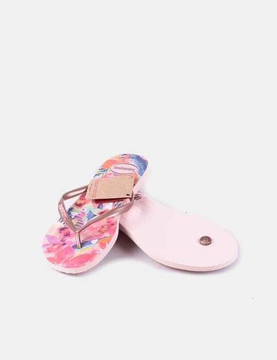 Chanclas rosa print tropical