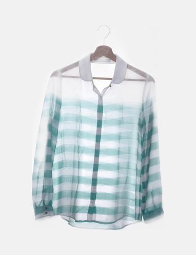Camisa de rayas combinadas azul y blanco
