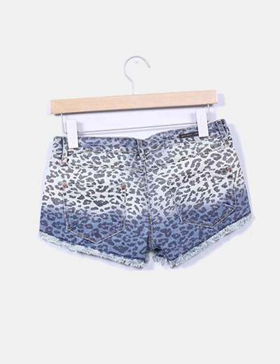 Shorts denim animal print
