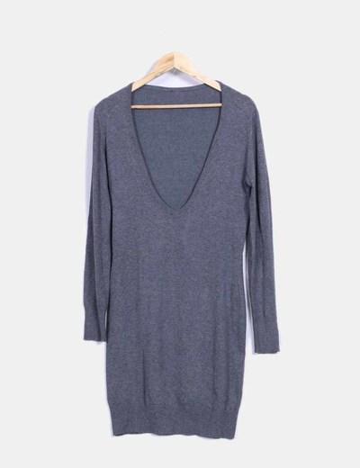 Vestido de punto gris oversize NoName