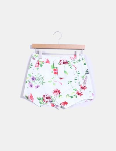 Falda pantalón blanco floral Suiteblanco