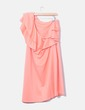 Coral dress with asymmetrical frill neckline Plusee