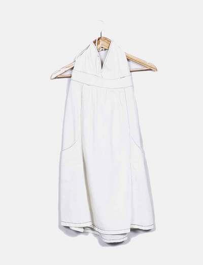 Robe blanche denim avec coutures bleues Zara