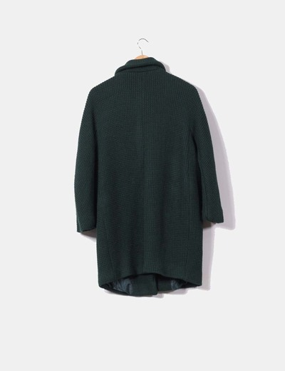 Abrigo de punto verde botella