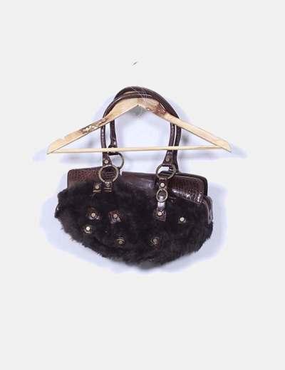 Bolso marrón de piel combinado NoName