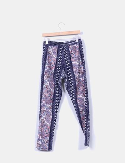 Conjunto top y pantalon estampado azul marino