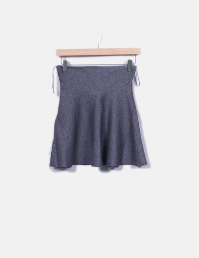 Mini falda tricot gris evasé