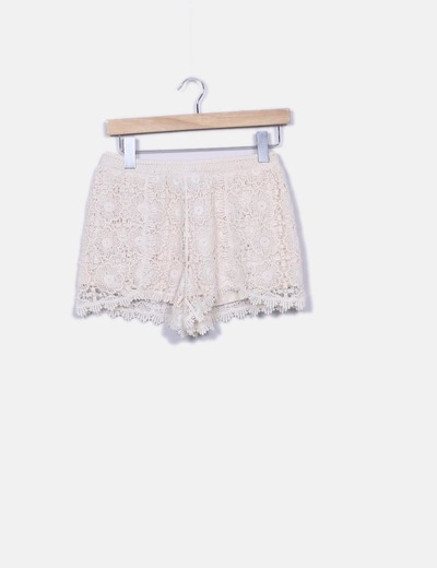 Short en crochet blanco New Look