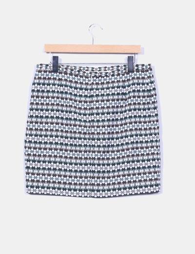 Falda midi estampada tricolor