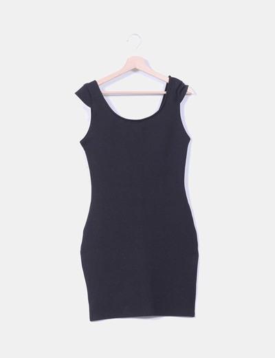 Vestido básico negro texturizado Lefties