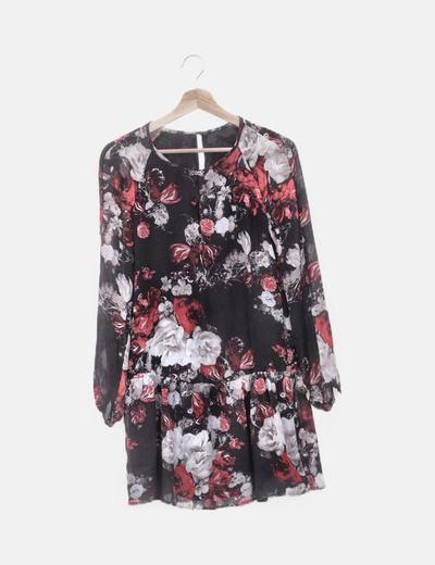 Vestido gasa negro floral