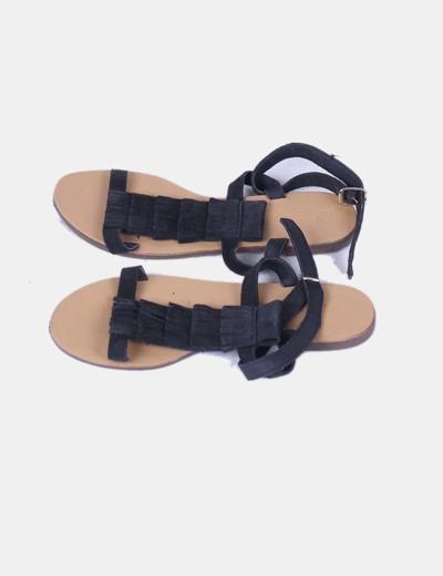 Sandales noires en daim frangé Green Coast