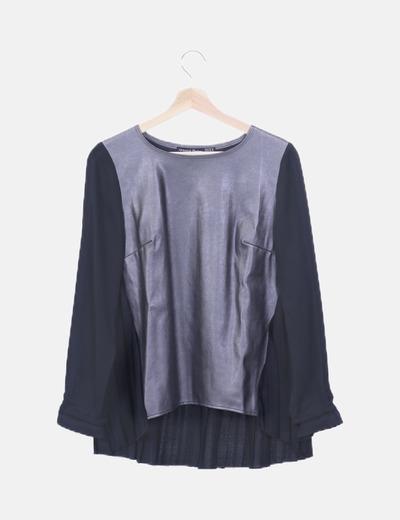 Blusa combinada metalizada