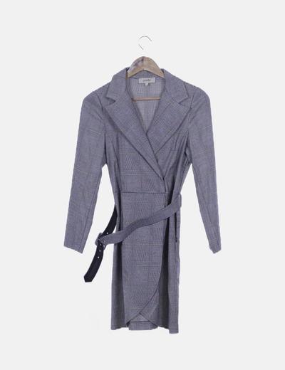 Vestido cruzado cuadro gales gris