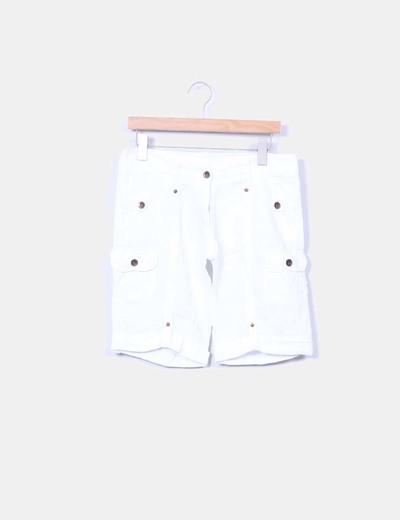 Bermuda blanca de lino NoName