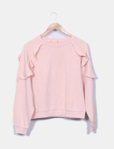 Zara Pull rose manchon avec volant (réduction 80%) - Micolet 8b0ac52121c8