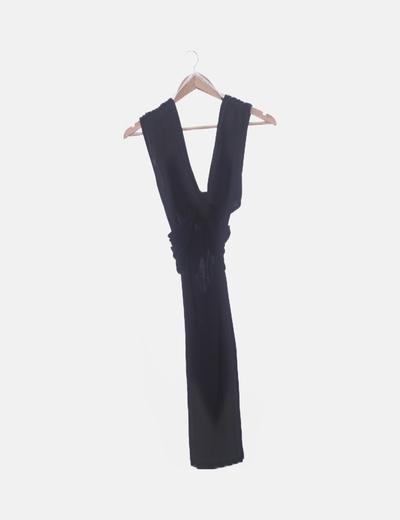 Vestido negro pico con nudo