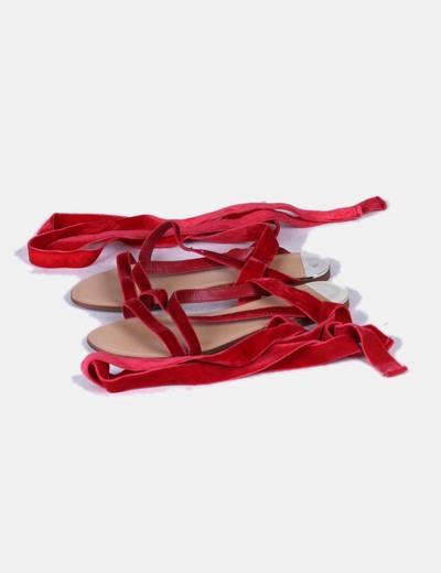 Sandalias pala lace up terciopelo rojo Mango