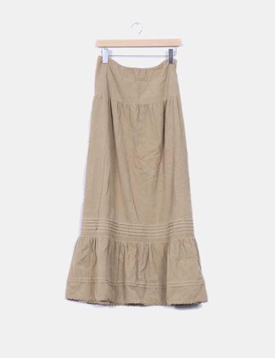 bfdf589fd Maxi falda beige de pana
