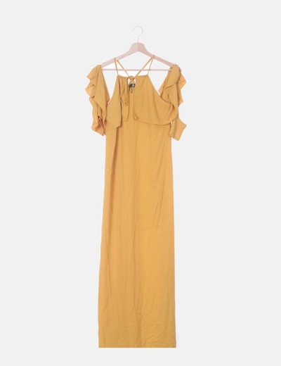Vestido fluido amarillo detalle mangas