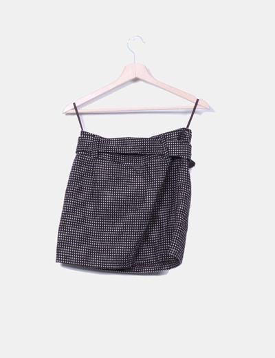 Mini falda de lana con cinturon
