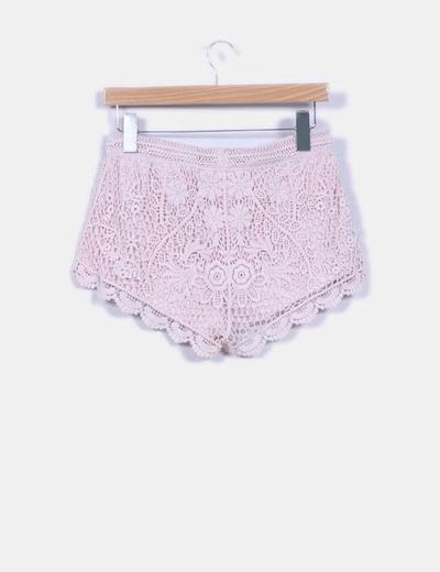 Short rosa palo de crochet