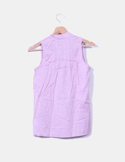 Blusa lila escote abotonado