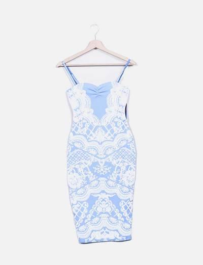 Vestido entallado azul estampado encaje Lipsy London