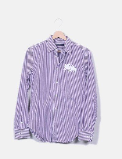 Ralph Lauren Chemise blanc et le violet rayée (réduction 83%) - Micolet f6923964fb2