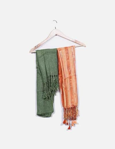 Pack 2 pañuelos verde y naranja NoName
