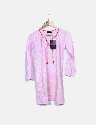 Vestido midi rosa estampado Antik Batik