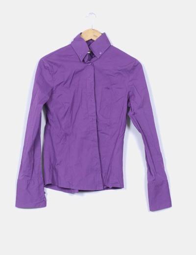 Camisa morada Pull & Bear